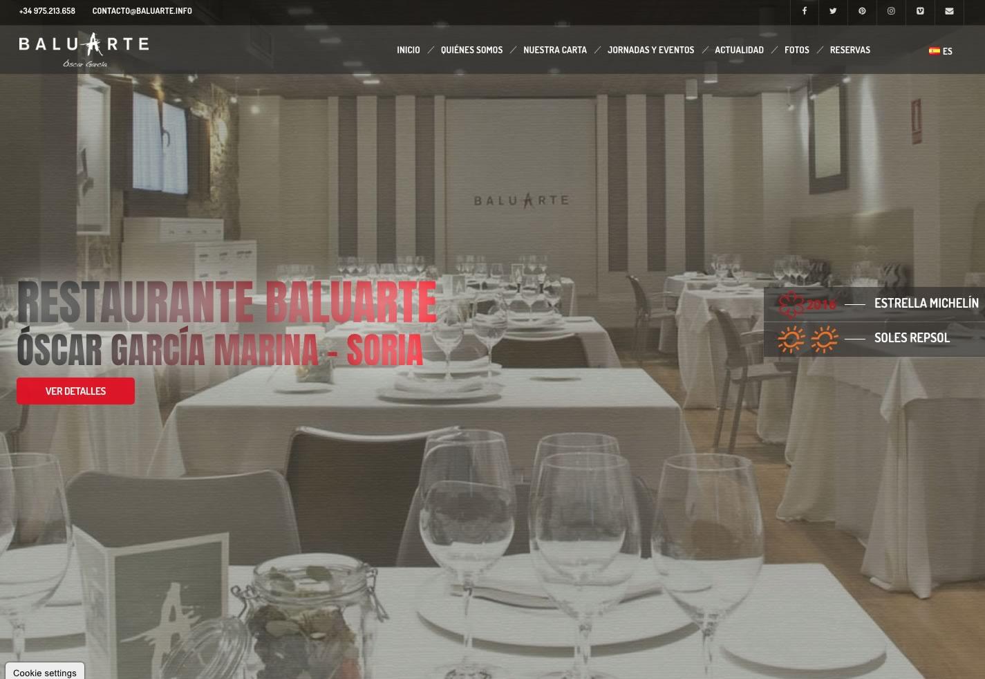 Rediseñada por completo la web del Restaurante Baluarte