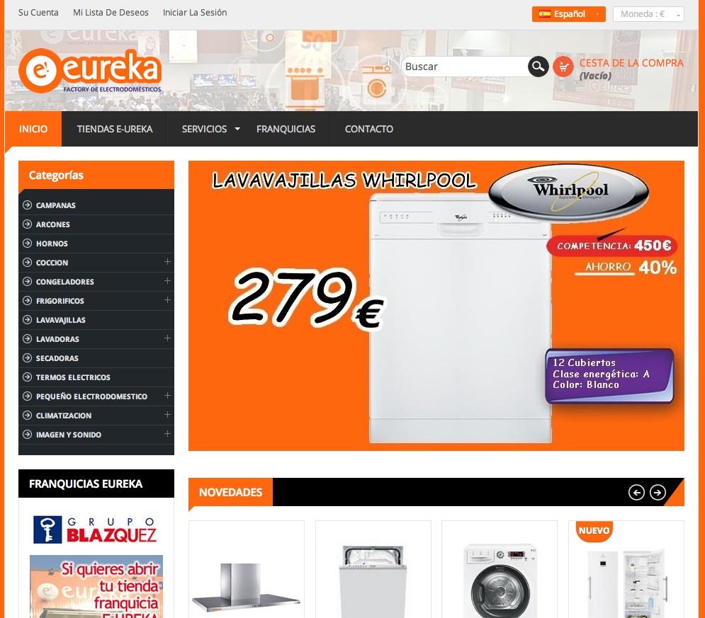 Nuevo diseño de tienda online: Eurela electrodomésticos