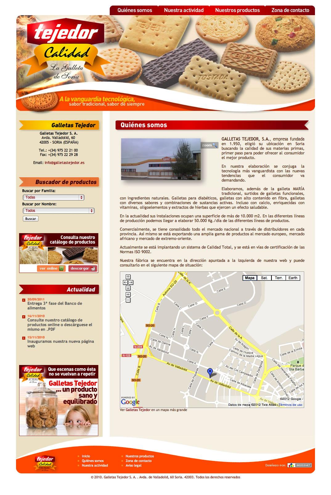 Terminada la página web de Galletas Tejedor S. A.