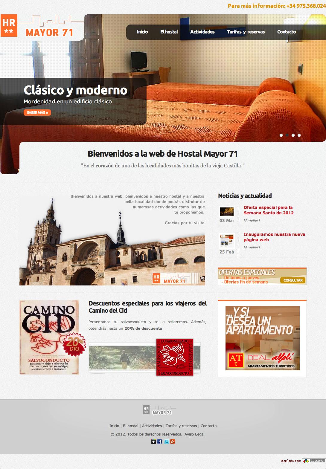 Finalizada la web del Hostal Mayor 71 y de los apartamentos Real Alfolí de El burgo de Osma