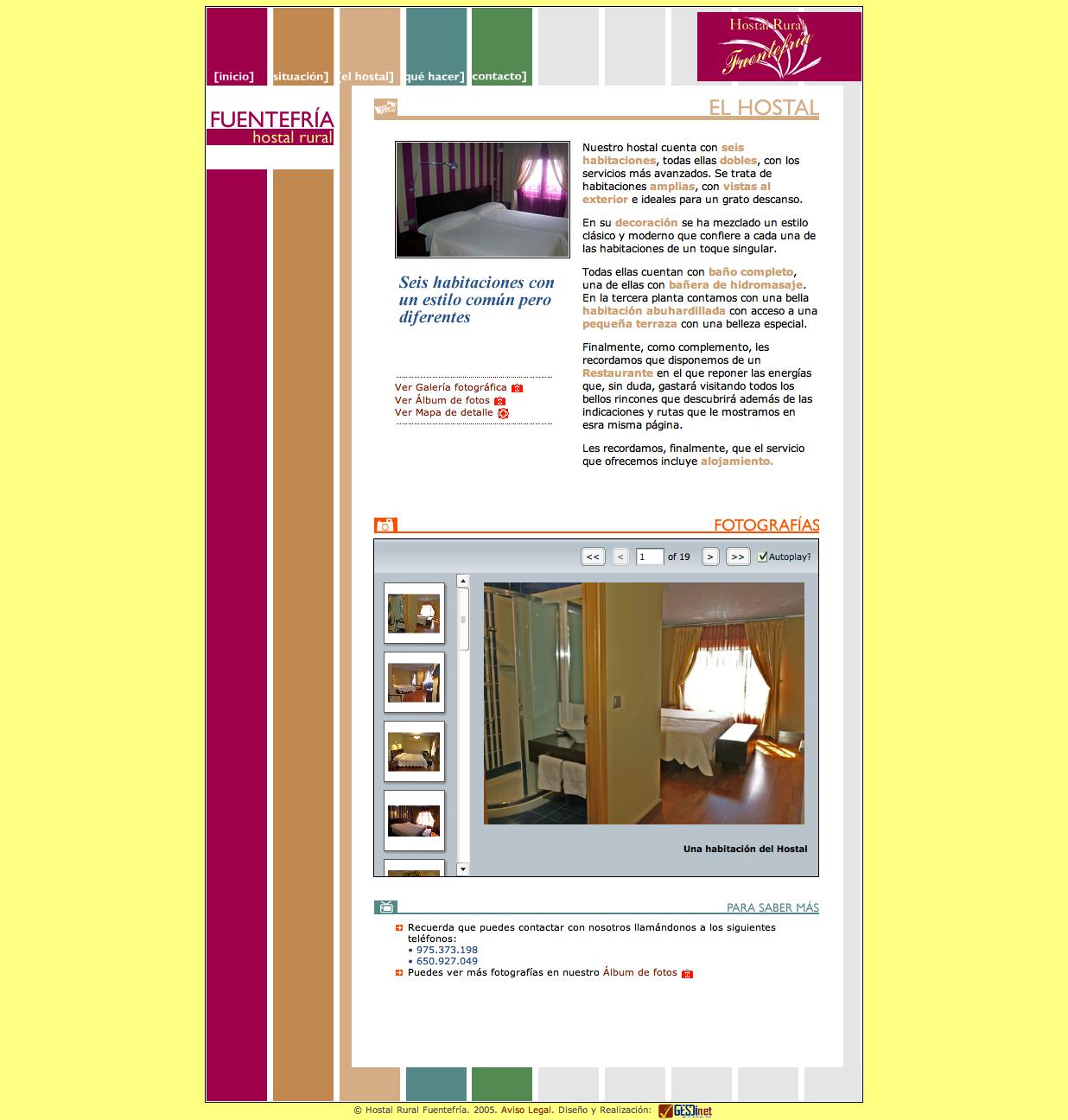 Actualización de la web www.hostalruralfuentefria.com