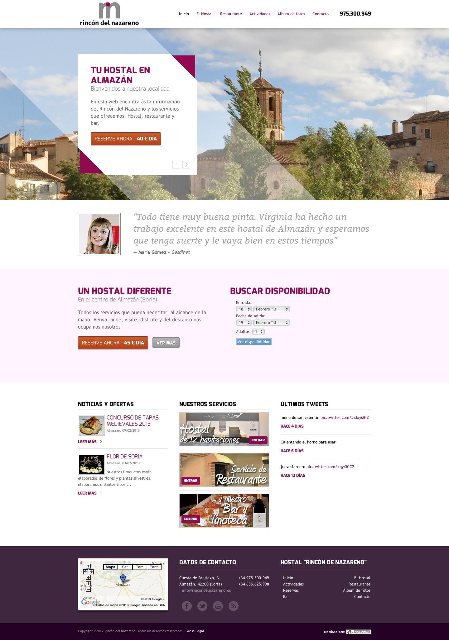 Seguimos trabajando: Residencia de Mayores La Solana, Hostal Rincón del Nazareno y web de Elena Lavilla Campo