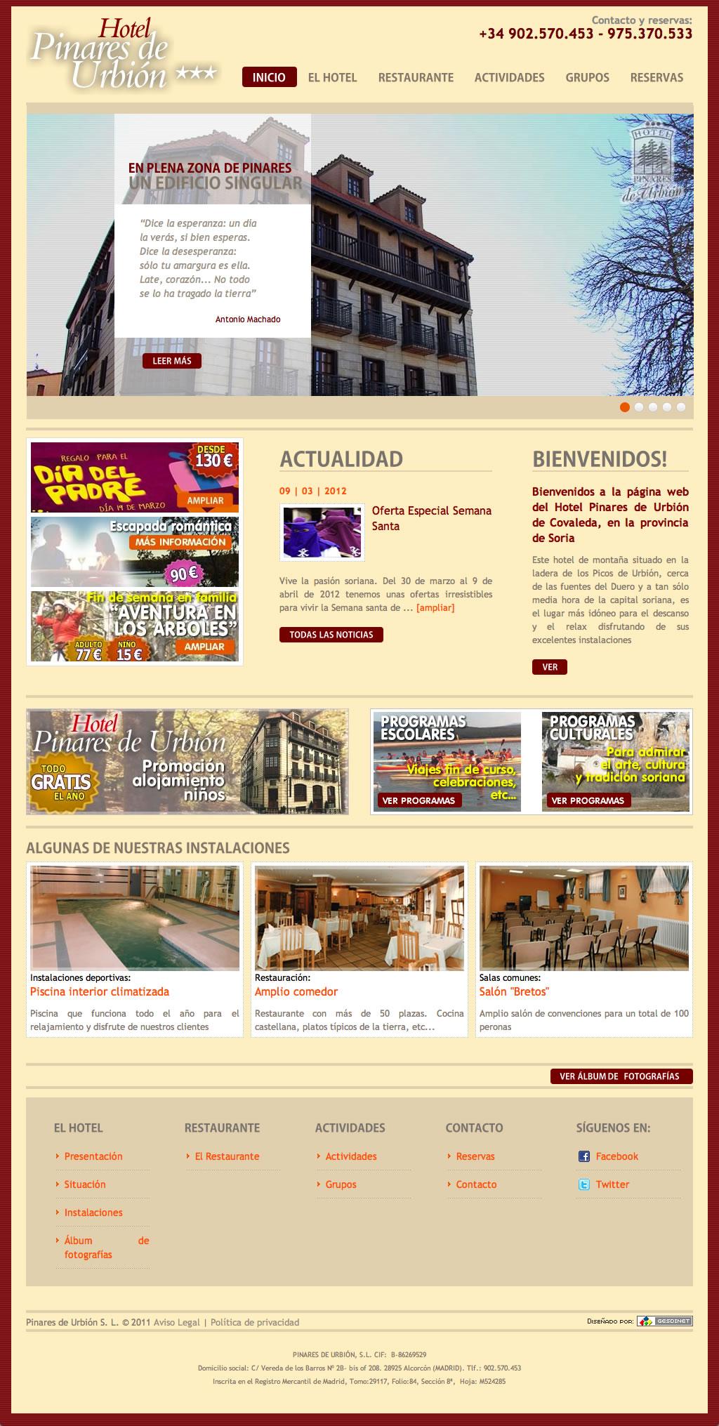 Renovada por completo la nueva web del Hotel Pinares de Urbión