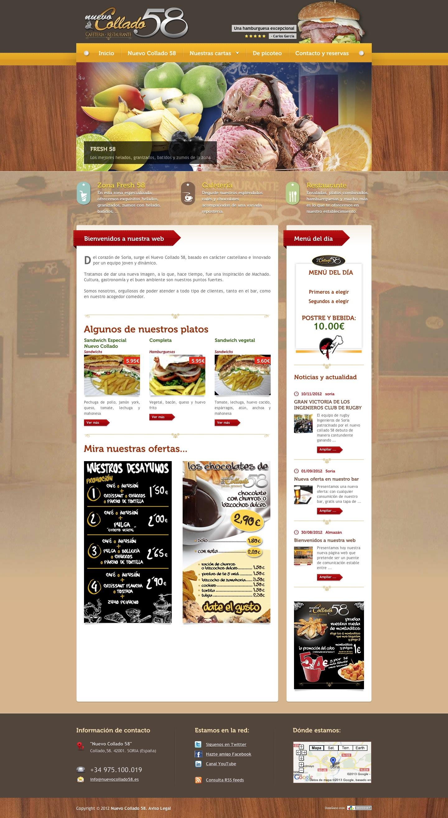 Otra nueva web: Cafetería Restaurante