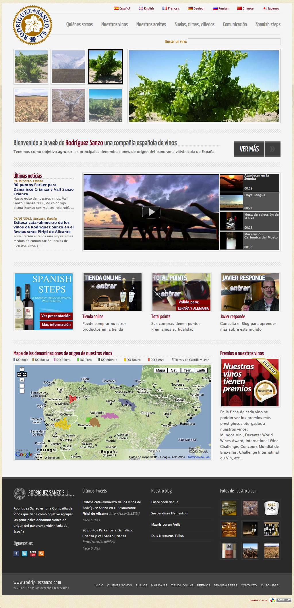 Nuevo desarrollo web: página de la bodega Valsanzo, de Valladolid