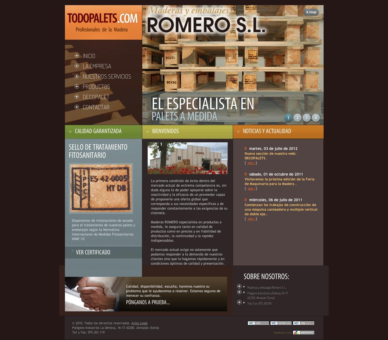 Presentada la nueva web de Maderas Romero S. L. sobre la fabricación de palets de madera (www.todopalets.com)