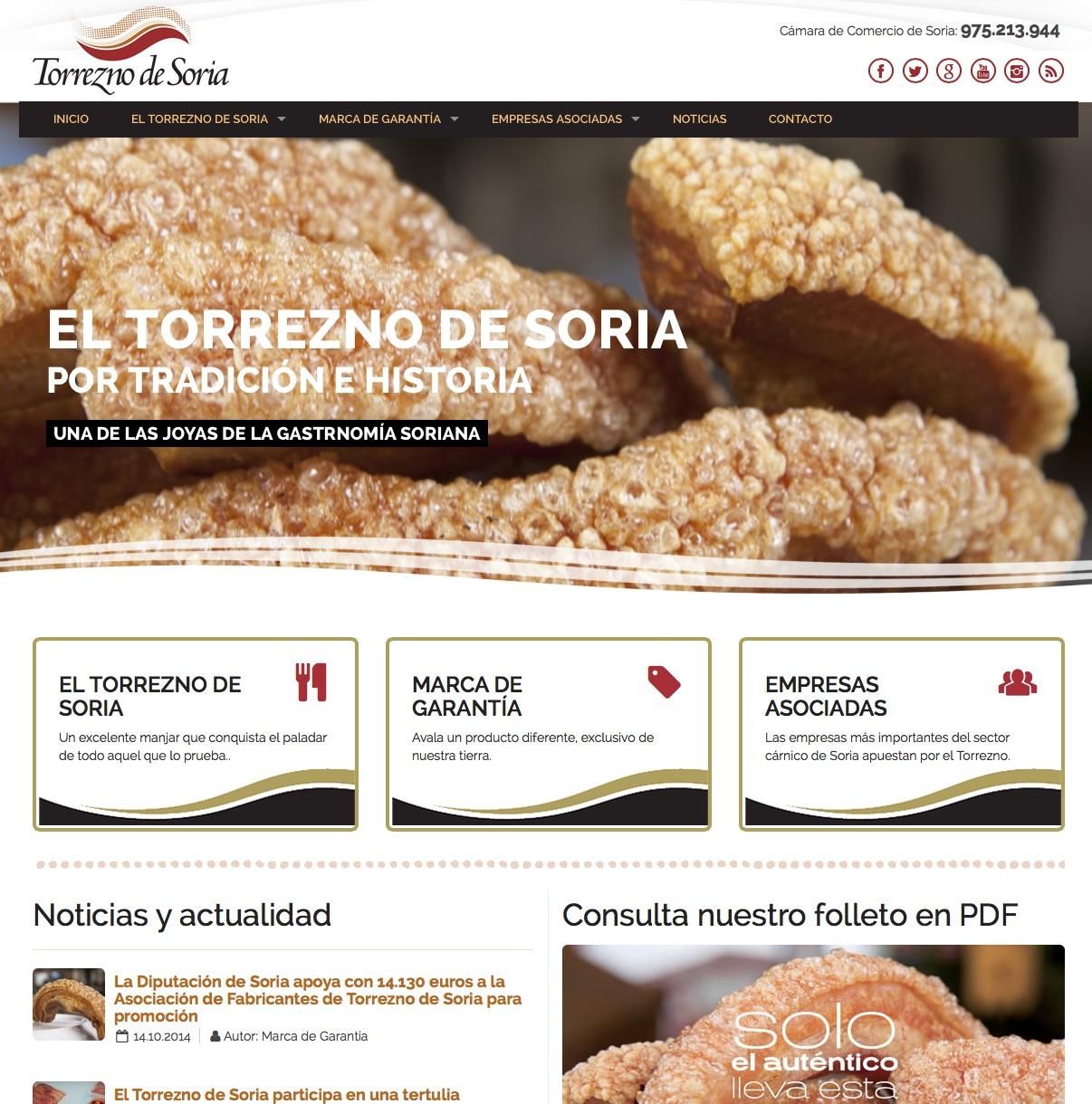 Nuevo trabajo: Web de la Marca de Garantía Torrezno de Soria
